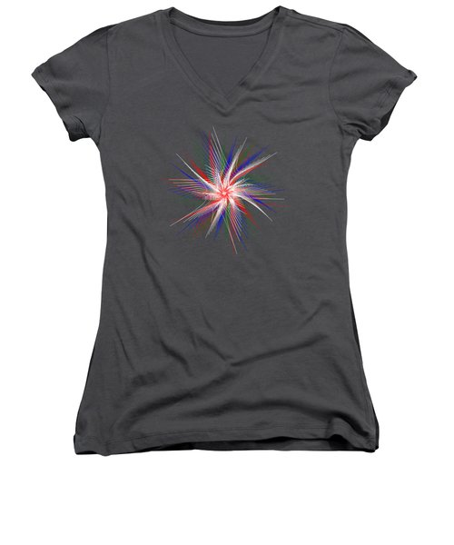 Women's V-Neck T-Shirt (Junior Cut) featuring the digital art Star In Motion By Kaye Menner by Kaye Menner