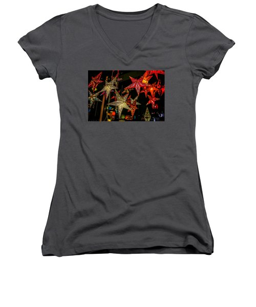 Women's V-Neck T-Shirt featuring the photograph Star Lights by Lora Lee Chapman