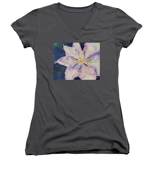 Women's V-Neck T-Shirt (Junior Cut) featuring the painting Star Shine by Mary Haley-Rocks