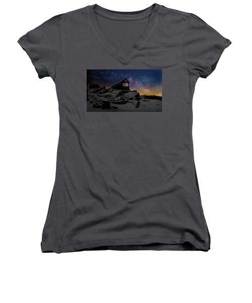 Women's V-Neck T-Shirt (Junior Cut) featuring the photograph Star Spangled Banner by Bill Wakeley