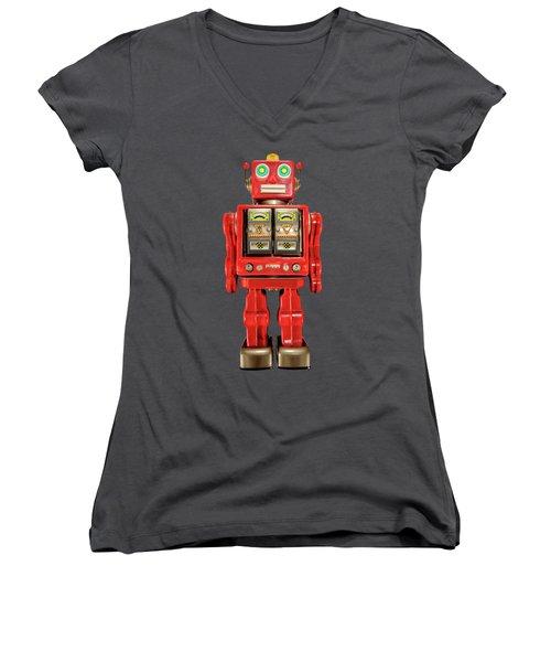 Star Strider Robot Red On Black Women's V-Neck T-Shirt (Junior Cut) by YoPedro