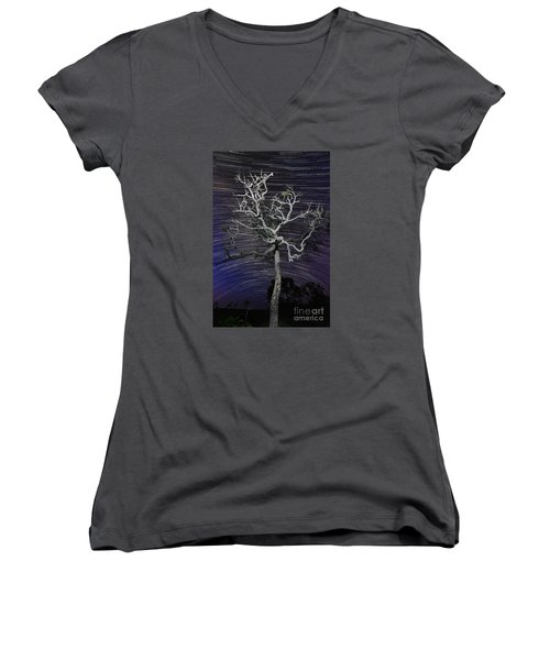 Women's V-Neck T-Shirt (Junior Cut) featuring the photograph Star Trails In The Cerrado by Gabor Pozsgai