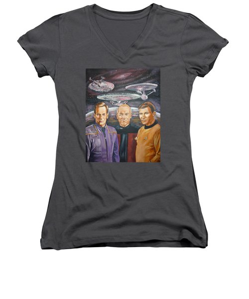 Star Trek Tribute Enterprise Captains Women's V-Neck (Athletic Fit)