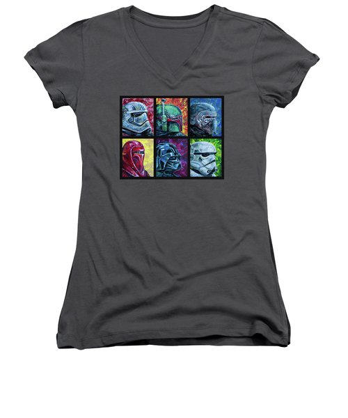 Star Wars Helmet Series - Collage Women's V-Neck T-Shirt (Junior Cut) by Aaron Spong