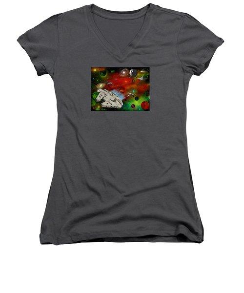 Star Wars Women's V-Neck T-Shirt (Junior Cut) by Michael Rucker