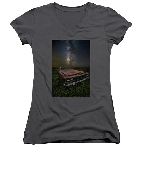 Women's V-Neck T-Shirt featuring the photograph Stardust And Rust - Pontiac by Aaron J Groen