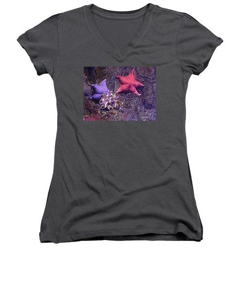Starfish Pink Starfish Blue Women's V-Neck T-Shirt
