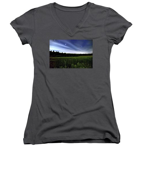Starlight And Fireflies Women's V-Neck (Athletic Fit)