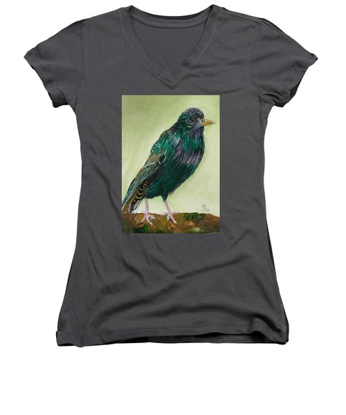 Starling Women's V-Neck T-Shirt (Junior Cut) by Carole Robins