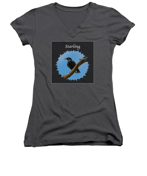 Starling   Women's V-Neck T-Shirt (Junior Cut) by Jan M Holden