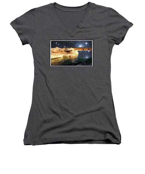 Starry Night Fantasy, Lake Powell, Arizona Women's V-Neck T-Shirt (Junior Cut) by A Gurmankin NASA STSci