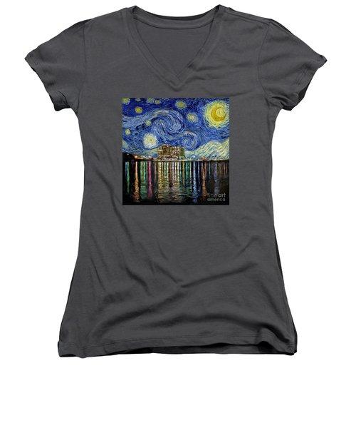 Starry Night In Destin Women's V-Neck T-Shirt (Junior Cut) by Walt Foegelle