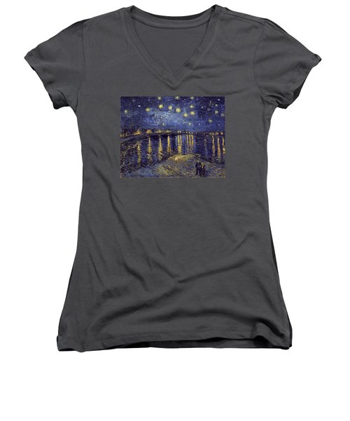 Women's V-Neck featuring the painting Starry Night Over The Rhone by Van Gogh