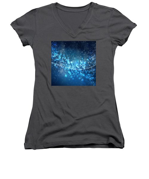 Stars And Bokeh Women's V-Neck T-Shirt (Junior Cut) by Setsiri Silapasuwanchai