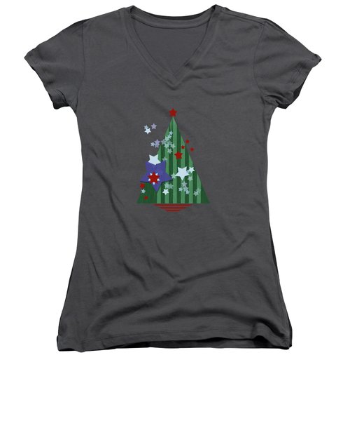 Stars And Stripes - Christmas Edition Women's V-Neck T-Shirt (Junior Cut) by AugenWerk Susann Serfezi