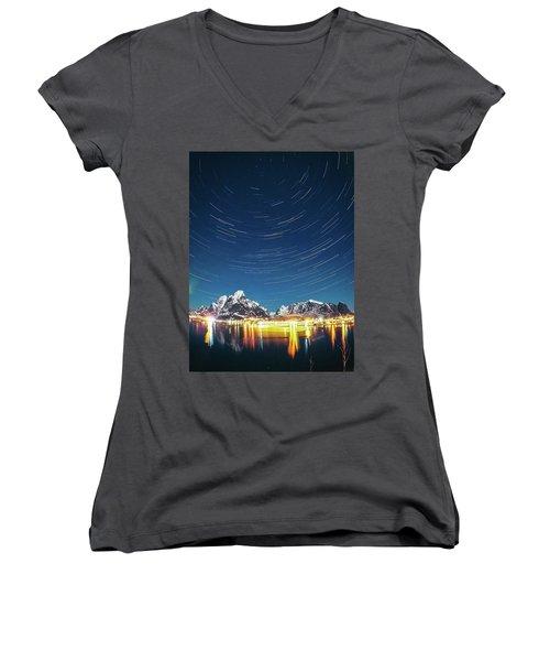 Startrails Above Reine Women's V-Neck T-Shirt (Junior Cut) by Alex Conu