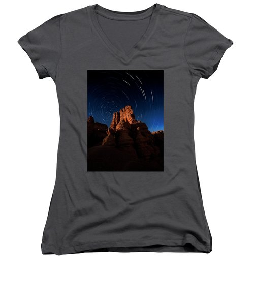 Women's V-Neck featuring the photograph Stary Trails At Red Canyon by Edgars Erglis