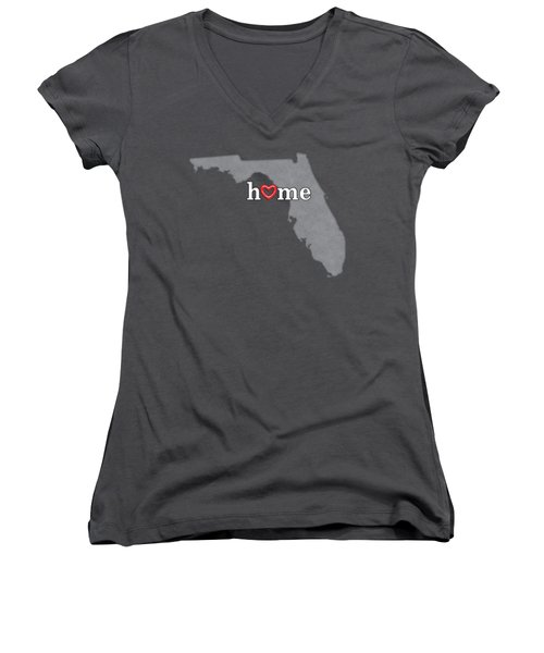 State Map Outline Florida With Heart In Home Women's V-Neck T-Shirt (Junior Cut) by Elaine Plesser
