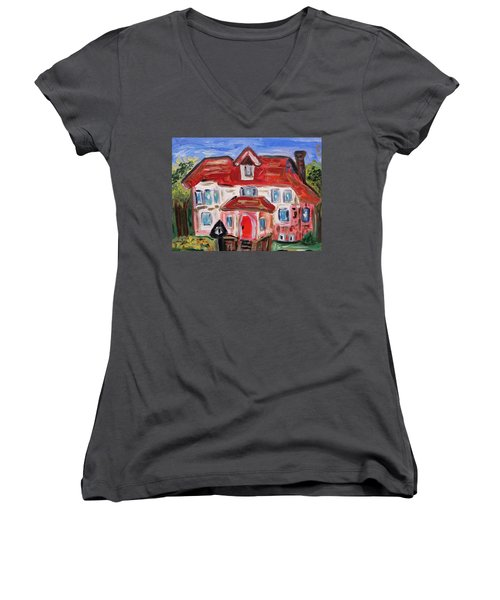 Stately City House Women's V-Neck T-Shirt (Junior Cut) by Mary Carol Williams
