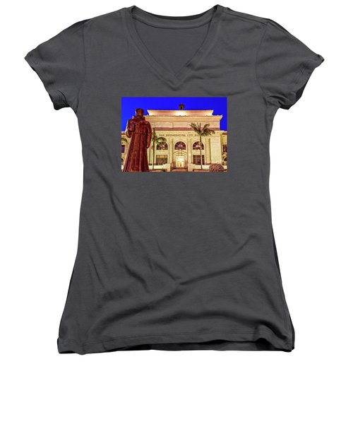 Women's V-Neck T-Shirt (Junior Cut) featuring the photograph Statue Of Saint Junipero Serra In Front Of San Buenaventura City Hall by John A Rodriguez
