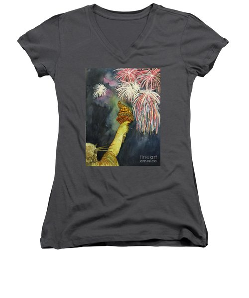 Statute Of Liberty Women's V-Neck T-Shirt (Junior Cut) by Lucia Grilletto