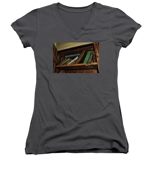 Stay A While And Listen Women's V-Neck T-Shirt (Junior Cut) by Ryan Crouse