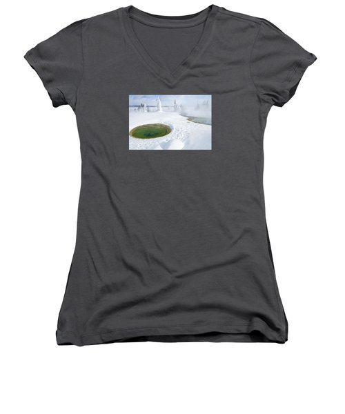 Steam And Snow Women's V-Neck T-Shirt (Junior Cut) by Gary Lengyel