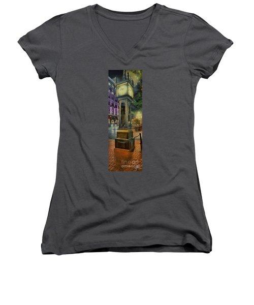 Steam Clock Gastown Women's V-Neck T-Shirt