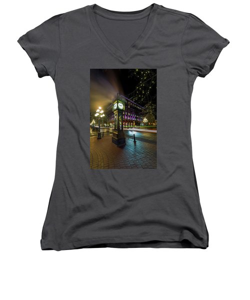 Steam Clock In Gastown Vancouver Bc At Night Women's V-Neck (Athletic Fit)