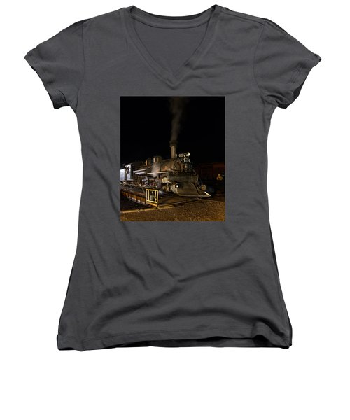 Locomotive And Coal Tender On A Turntable Of The Durango And Silverton Narrow Gauge Railroad Women's V-Neck T-Shirt (Junior Cut) by Carol M Highsmith