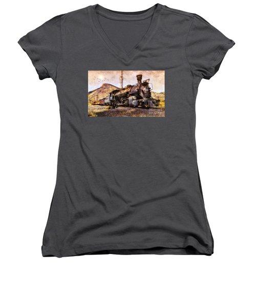 Steam Locomotive Women's V-Neck T-Shirt (Junior Cut) by Ian Mitchell