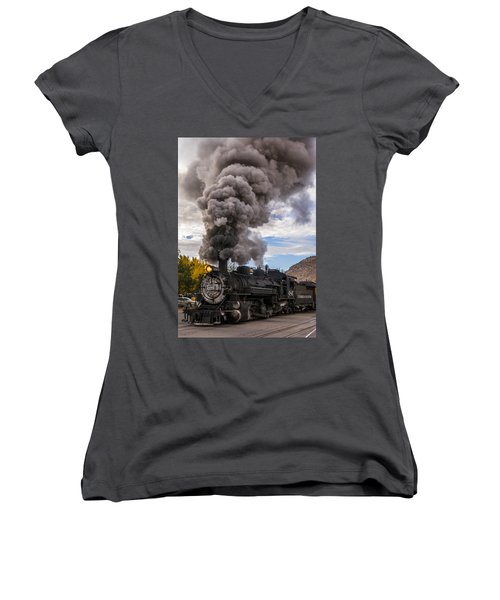 Women's V-Neck T-Shirt (Junior Cut) featuring the photograph Steam Locomotive by Jerry Cahill