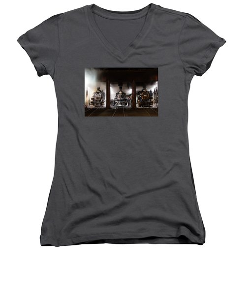Women's V-Neck T-Shirt (Junior Cut) featuring the photograph Steam Locomotives In The Train Yard Of The Durango And Silverton Narrow Gauge Railroad In Durango by Carol M Highsmith