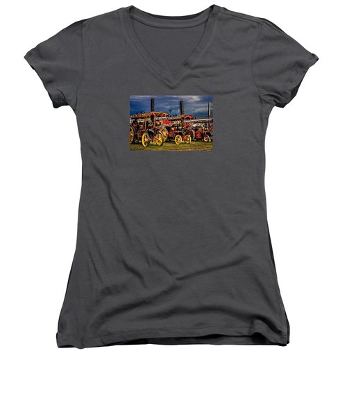 Women's V-Neck T-Shirt featuring the photograph Steam Power by Chris Lord