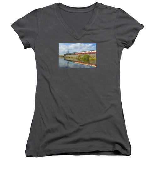 Steam Train Reflections Women's V-Neck (Athletic Fit)