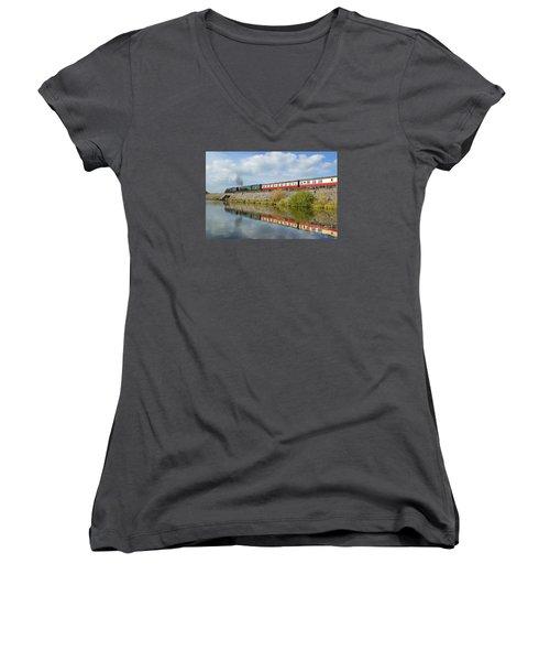 Steam Train Reflections Women's V-Neck T-Shirt