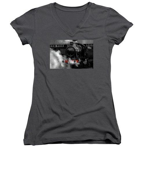 Steam Train Selective Colour Women's V-Neck T-Shirt (Junior Cut) by Ken Brannen