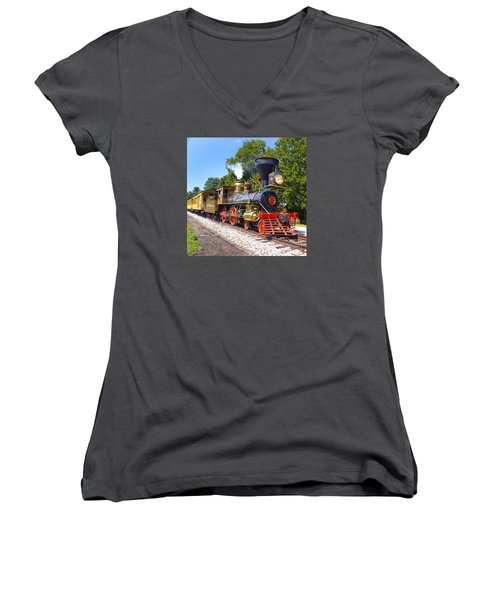 Steaming Into History Women's V-Neck T-Shirt (Junior Cut) by Paul W Faust -  Impressions of Light