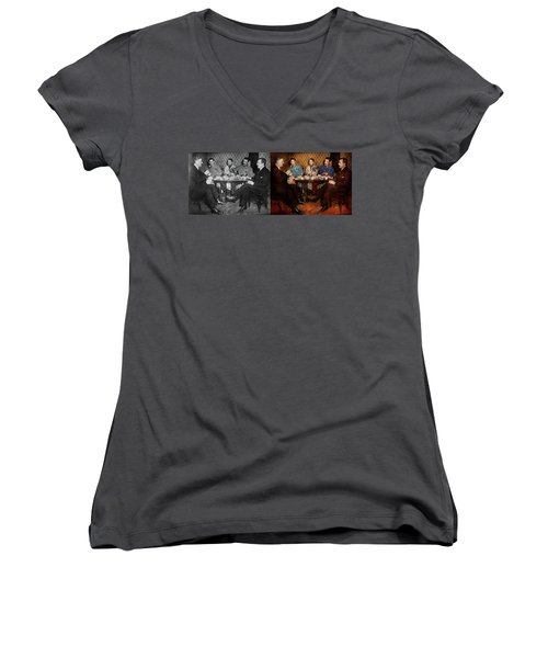 Women's V-Neck T-Shirt featuring the photograph Steampunk - Bionic Three Having Tea 1917 - Side By Side by Mike Savad