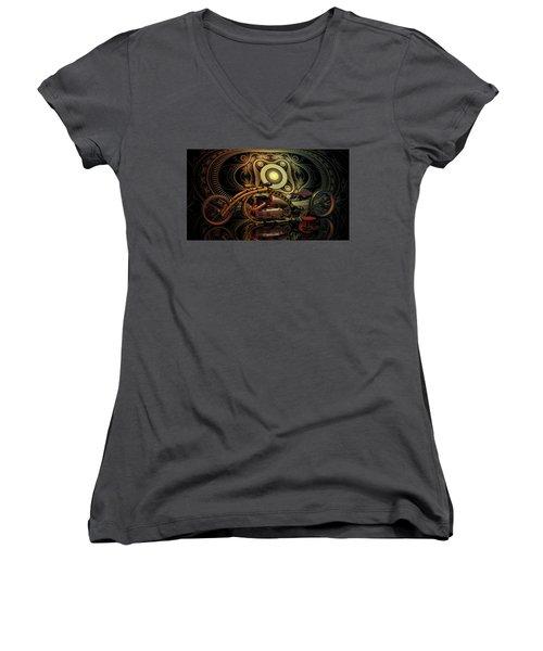 Steampunk Chopper Women's V-Neck T-Shirt (Junior Cut) by Louis Ferreira