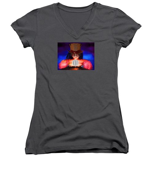 Steampunk Into The Light  Women's V-Neck T-Shirt (Junior Cut) by Louis Ferreira