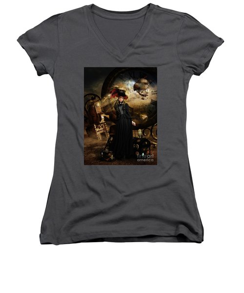 Steampunk Time Traveler Women's V-Neck (Athletic Fit)