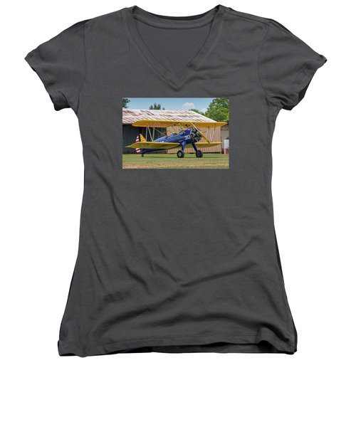 Stearman And Old Hangar Women's V-Neck (Athletic Fit)