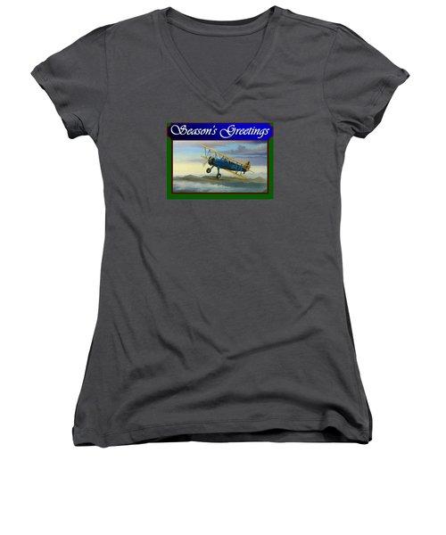 Women's V-Neck T-Shirt (Junior Cut) featuring the painting Stearman Christmas Card by Stuart Swartz