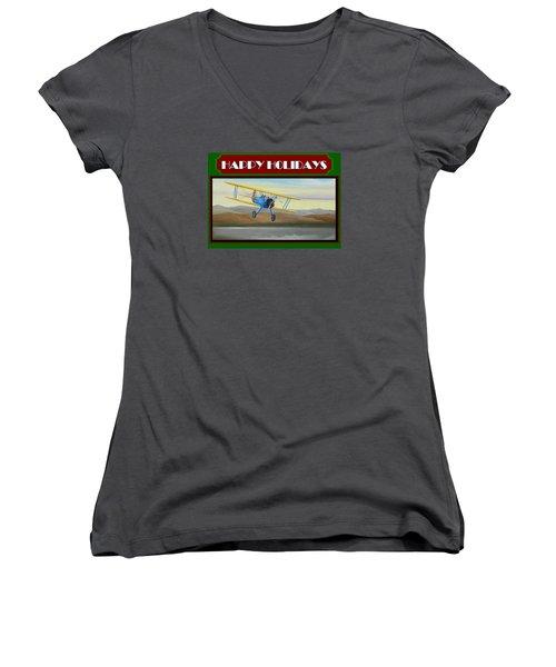 Women's V-Neck T-Shirt (Junior Cut) featuring the painting Stearman Morning Flight Christmas Card by Stuart Swartz