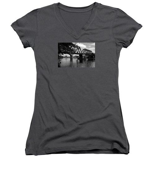 Women's V-Neck T-Shirt (Junior Cut) featuring the photograph Steel City by Michael Dorn