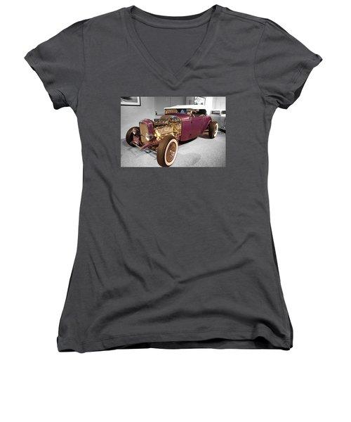 Steele Roadster Women's V-Neck T-Shirt (Junior Cut) by John Schneider