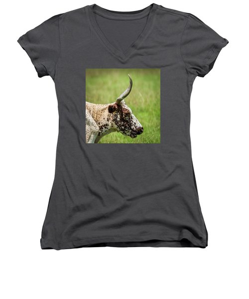 Women's V-Neck T-Shirt (Junior Cut) featuring the photograph Steer Portrait by Paul Freidlund