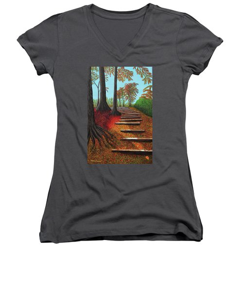 Almost There Women's V-Neck T-Shirt (Junior Cut) by Donna Manaraze
