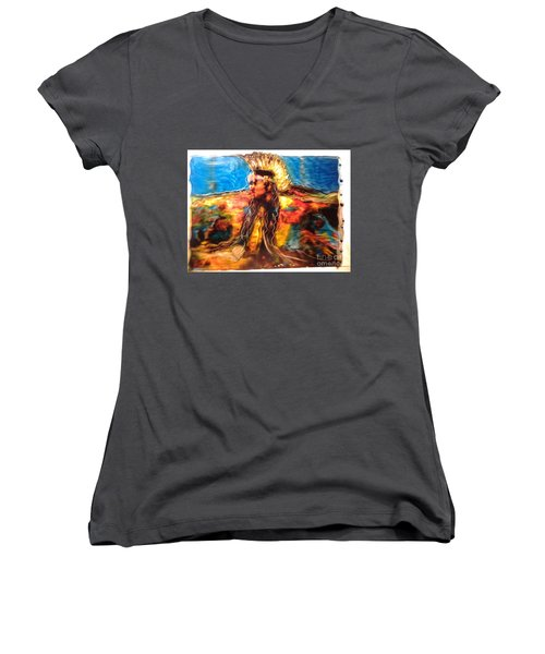 Women's V-Neck T-Shirt (Junior Cut) featuring the painting Stepping Into The Soul by FeatherStone Studio Julie A Miller